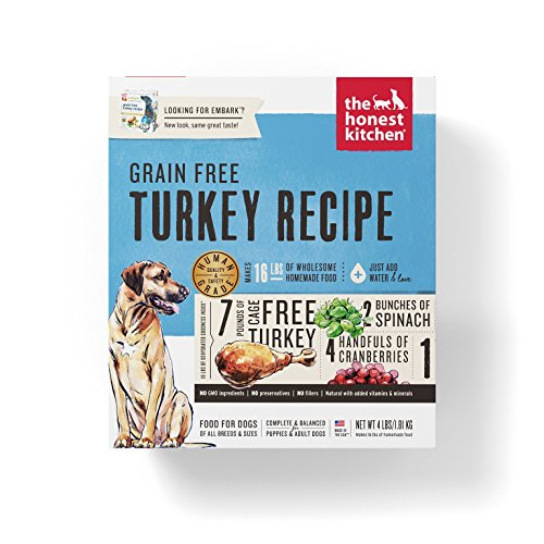 Honest Kitchen The Embark Grain Free Dog Food - Natural Human Grade Dehydrated Dog Food, Turkey, 4 lbs (Makes 16 lbs)