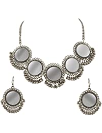 Zephyrr Jewellery Set Afghani Gold Beaded Pendant Necklace Earrings Set with Mirrors