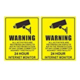 #9: Graphic Club Warning Sign Decal Sticker for 24 Hour CCTV Security Camera (Pack of 2)