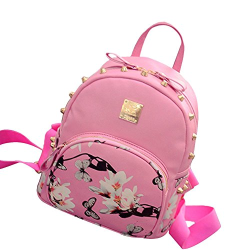 tellw Donna Viaggi Shopping Borsa Zaino, Donna, Black, 26*31*13cm Pink