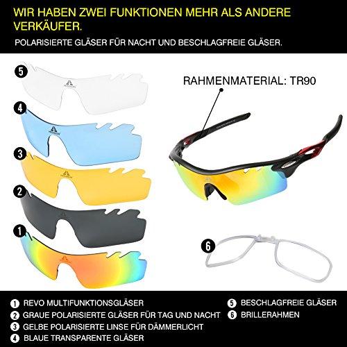 HODGSON Fahrradbrille Sport Sonnenbrille für Herren und Damen Polarisierte, Sportbrille mit 5 Wechselobjektiven und Radsports, Baseball, Laufen, Tr90-Rot … - 2