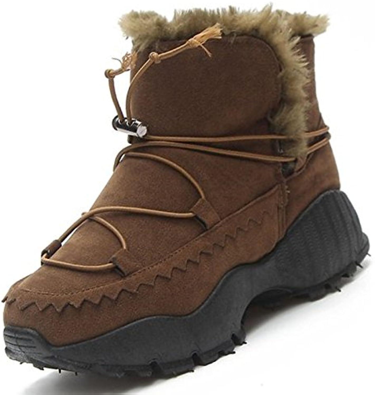 ZHZNVX HSXZ Zapatos de Mujer Botas Botas de Nieve de Invierno de Cachemir Chunky Talón Puntera Redonda Mid-Calf...