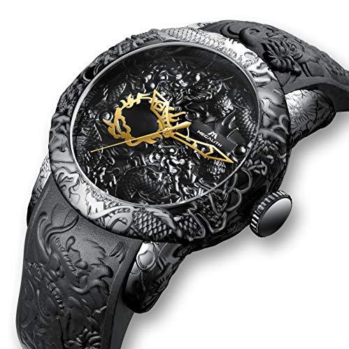 Herren Uhren Männer Wasserdicht Luxus Großes Chinesischer Stil 3D Drachen Designer Armbanduhr Mann Mode Coole Schwarz Gummi Analoge Quarz Prägen Uhr