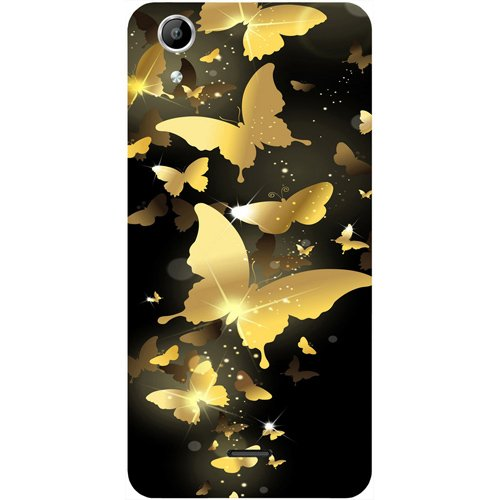 Casotec Golden Butterfly Pattern Design Hard Back Case Cover for Micromax Canvas Selfie Lens Q345  available at amazon for Rs.149