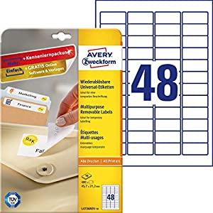 Avery Dennison Zweckform L4736REV-10 Universal Labels Re-Adhesive 10 Pages 45.7 x 21.2 mm White