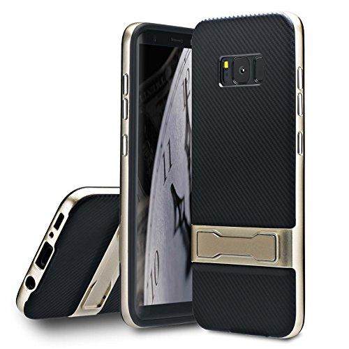 Lincivius Samsung S8 Plus Hülle, Galaxy S8 Plus Handyhülle Carbon Mit Krücke Schutzhülle Hüllen Cover Design [CARBON STAND] Slim Case hybrid Hard Contour + Softshell backcover Krücke - Gold (Krücken Plus)