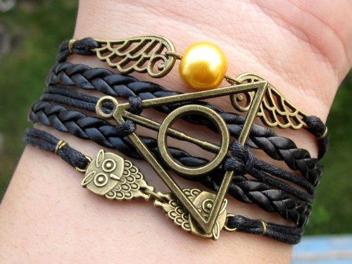 Unique Handmade Bracelet Golden Snitch Bracelet Deathly Hallows and Owls Bracelet Black Leather Braid and Rope Bangle Gift to Harry Potter Fans