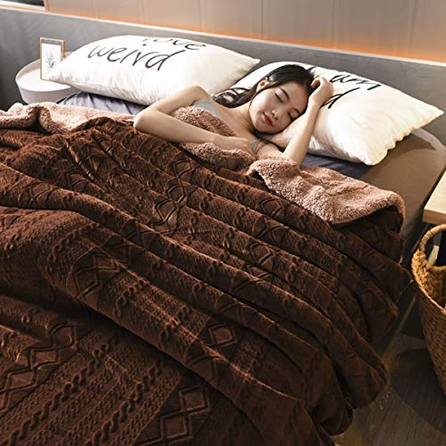 Mikrofaserdecke Flauschige Fleece Reversibel Kuscheldecke Decke aus Mikro-Kunstfell und Sherpa-Fleece Flauschige Decke Warmes Bettsofa und Haustier Werfen,Kaffee,150 * 200cm -