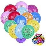 Faburo 50x Bunte Luftballons Weihnachtsluftballon Latex Dekoration Ballons für Festival Party Weihnachten