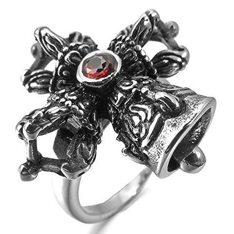 Epinki,Men's Stainless Steel Rings CZ Silver Black Red Cross Royal King Crown Vintage Size V 1/2