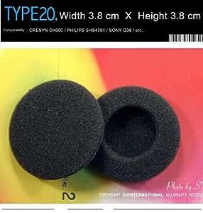 coussinets d'écouteurs de rechange pour casque CRESYN CH300, PHILIPS SHS4701, Sony Q38, Sennheiser, Audio-Technica, etc. (Emballé 2 paire (4 pièces)) Type 20