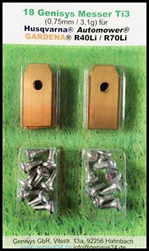 genisys !Titan Messer (Ti3=0,75mm) und Schrauben für Husqvarna Automower, Gardena Mähroboter