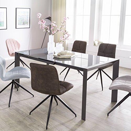 FineBuy Esszimmertisch NOAH 122 - 182 cm ausziehbar dunkelgrau Metall / Glas   Tisch für Esszimmer rechteckig   Küchentisch 4 - 8 Personen   Design Esstisch