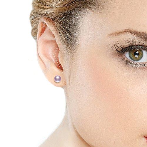 JORA Boucles d'oreilles Naturelle Perles de Culture d'eau Douce AAA Argent Sterling 925 Bijoux de Perles Classique et Raffiné idée Cadeau de Femme Violet 7.5mm