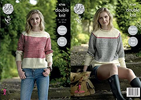 King Cole 4746 Knitting Pattern Womens Easy Knit Raglan Sweaters in King Cole Merino Blend DK