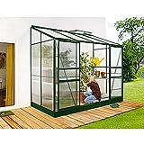 Ida 3300 Alu-Anlehngewächshaus grün HKP 4 mm Balkon-Gewächshaus 3,3 m² mit Fundament