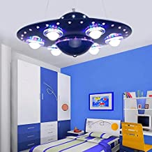 FGSGZ Lámpara Para Colgar La Lámpara De La Nave Espacial Ovni Creativa De Dibujos Animados De Los Niños De Dormitorio Luces Niños Sala De Iluminación De Control Remoto (Color: Azul)