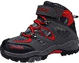 Stivali da Arrampicata per Bambini Scarpe da Trekking Scarpe Antisdrucciolevoli in Inverno Stivali da Neve Scarpe da Cotone Piattaforma Impermeabile per Ragazze Ragazzi(Rosso EU36)