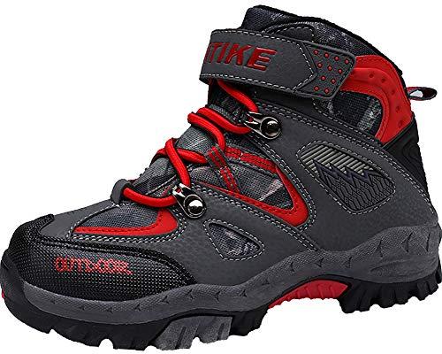 Stivali da Arrampicata per Bambini Scarpe da Trekking Scarpe Antisdrucciolevoli in Inverno Stivali da Neve Scarpe da Cotone Piattaforma Impermeabile per Ragazze Ragazzi(Rosso EU35)