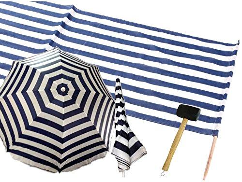 Iden 7576566 - Idena Baumwoll Windschutz incl. 5 Holzstäbe, 5 m x 0,80 m (Set mit Schirm+Hammer, Blau   Weiß)