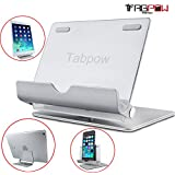 Tablet Stand, TabPow [Aluminium Series] 360 Degree Rotation Metal Mount Holder Stand for Tablet Cellphone iPhone, iPad, Samsung Galaxy Tab, Nexus, LG Pad, and More, Silver