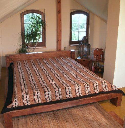Guru-Shop Block Print Bedspread, bed Sofa Cover, Handmade Wall Hanging, Wall Cloth – Brown Africa Design, Cotton, Size: Single 150×200 cm, Blockprint Bedspread