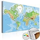 murando - Weltkarte Pinnwand 120x80 cm Bilder mit Kork Rückwand 1 Teilig Vlies Leinwandbild Korktafel Fertig Aufgespannt Wandbilder XXL Kunstdrucke Landkarte k-C-0026-p-a