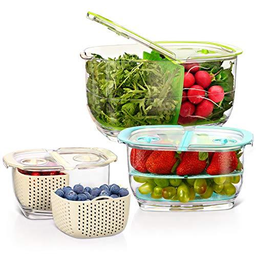 Elegear Organizador Nevera Alimentos 3 Piezas Contenedor con Tapa de Verduras y Frutas sin BPA para Frigorifico Transparente