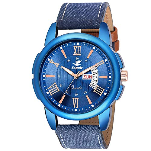 Espoir Analogue Stylish Blue Dial Day and Date Men\'s Boy\'s Watch - Blue Ray 0507