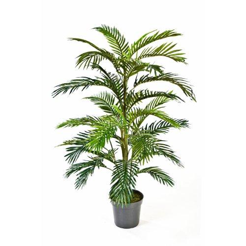 artplants Künstliche Areca-Palme JENNICA im Zementtopf, 32 Palmwedel, 120 cm – Kunstpalme/Dekopalme