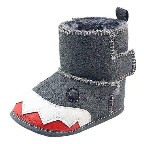 FNKDOR Baby Jungen Mädchen Lauflernschuhe Rutschfest Haien Schuhe Stiefel (6-12 Monate, Grau)