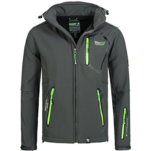 Geographical Norway TAKEN Premium Herren Softshell Funktions Outdoor Jacke wasserfest Grau