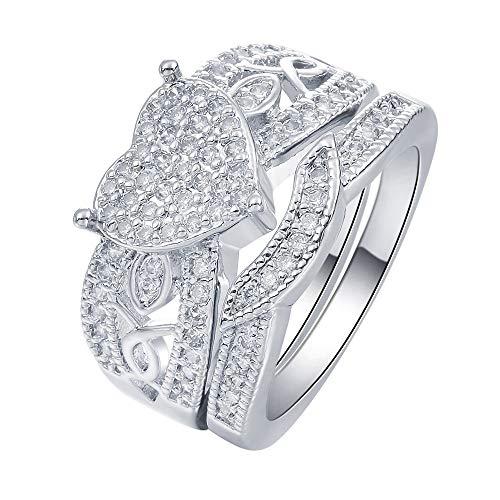 SSLL Ring damen Damen Platin Gefüllt Cz Zirkon Schmuck Silber Herzförmige Ehering Set, 9 (Ehering Größe 9 Cz Sets,)