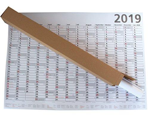 Plakatkalender PARVA 2019 groß, Wandkalender DIN A1, Posterkalender 13 Monate, gerollt geliefert! Made in Germany (Sonn- und Feiertage in Rot))