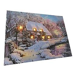 UK-Gardens House by River Festliches Weihnachtsbild mit LED-Lichtern, batteriebetrieben, Timer, Glasfaser, Leinwandoptik, 30 x 40 cm