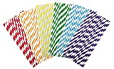 TININNA 150 Stück Mehrfarbige Party Strohhalme Trinkhalm Gestreiftes Muster Dekoratives Papier Strohhalme für Geburtstage, Hochzeiten, Baby Duschen und Leben Feiern