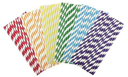 ehrfarbige Party Strohhalme Trinkhalm Gestreiftes Muster Dekoratives Papier Strohhalme für Geburtstage, Hochzeiten, Baby Duschen und Leben Feiern (Baby-dusche-cocktails)