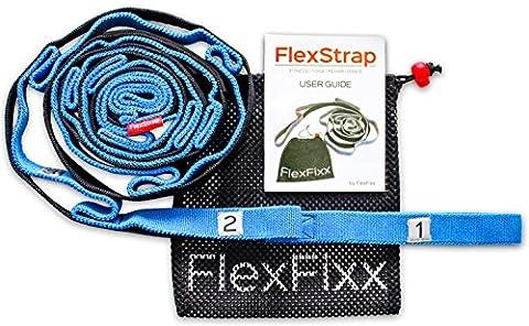 Flexibilité Sangle stretch Out-Best pour Yoga, Dance, thérapie physique, Rehab s'étirer avec bandes élastiques 12passants, repose-pieds rembourré et BONUS Guide d'utilisateur, bleu