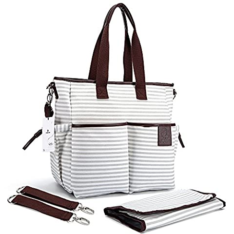 Nappy Bag & Diaper Changing Pad - Waterproof Canvas Weekender Tote With Zipper Pockets Organizer By HYBLOM - Fashion Designer For Moms - Cute Handbag With Adjustable Shoulder & Stroller Straps