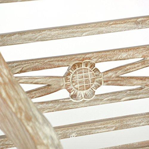 DIVERO 2-Sitzer stabile antike Gartenbank 115 cm massiv Teak-Holz Handarbeit 2 Personen Bank mit Schnitzereien weiß whitewash - 2