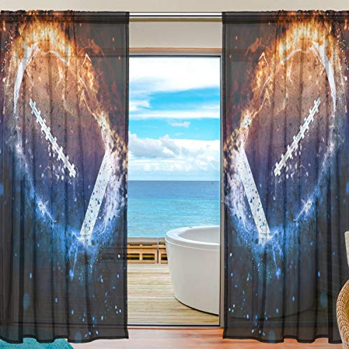 Vinlin Fenstervorhang Space America Football Voile Gardine für Schlafzimmer Wohnzimmer 2 Paneele 139,7 x 198 cm, Multi, 55x84x2(in)