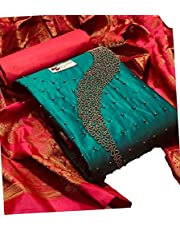 Any Fashion Ethnic Wear Cotton Khatli Hnad-work Salwar Suit With Jacquard Dupatta For Women