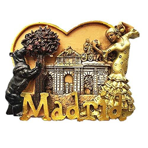 Kühlschrankmagnet 3D Bär und Erdbeerbaum Madrid Spanien Kühlschrankmagnet Souvenir Geschenk Home & Kitchen Dekoration, Magnet-Aufkleber, Madrid Spanien Kühlschrankmagnet (Magnet Madrid)