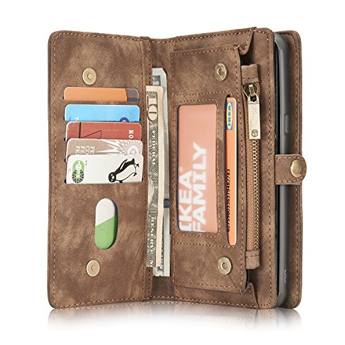 CaseMe Samsung Galaxy S8 Hülle, Ledertasche Brieftasche Cover mit Magnetic Phone Case, Großer Lagerung Reißverschluss, 10 Karten Halter und Foto Frame Slot für Samsung Galaxy S8 (Kaffee) -