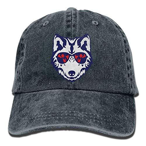 Hoswee Unisex Kappe/Baseballkappe, Cool Wolf Sunglasses Cowboy Baseball Cap for Womens Mens Trucker Style Hats C7
