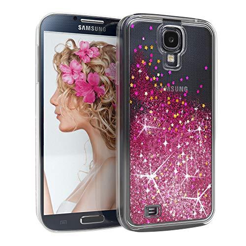 EAZY CASE Hülle für Samsung Galaxy S4 / S4 Neo Schutzhülle mit Flüssig-Glitzer, Handyhülle, Schutzhülle, Back Cover mit Glitter Flüssigkeit, aus TPU/Silikon, Transparent/Durchsichtig, Pink