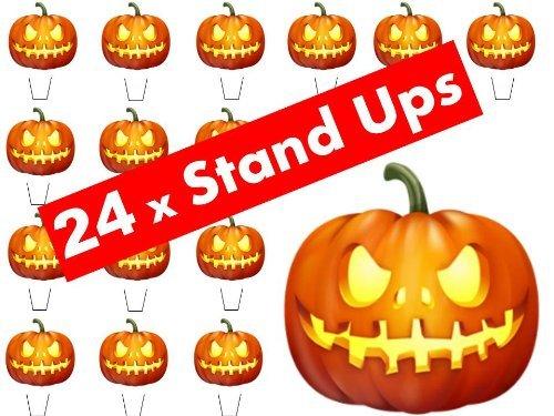 24 x Halloween-Party KÜRBIS gruselig Aufstehen Aufstell Fee Muffin Tasse Kuchendekoration Dekoration Essbare Reispapier Waffel