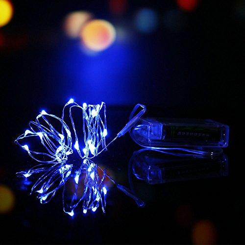 YARBAR 2M 6.5FT rame a pile di 20 LED String Fata Turchina Filo di Halloween di Natale
