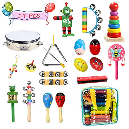 Bigear Toddler Musical Instruments, 15 Types 20pcs Instruments Wooden Musical Percussion Instruments Musical Toys Set Educational Early Learning Musical Toys for Kids and Baby with Kids Zipper Handbag