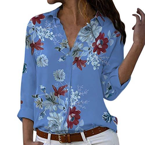 f90c20b81b5ff6 Lialbert Camicia Stampata Donna di Grandi Dimensioni V-Collo Sciolto  Pulsante Tempo Libero Risvolto